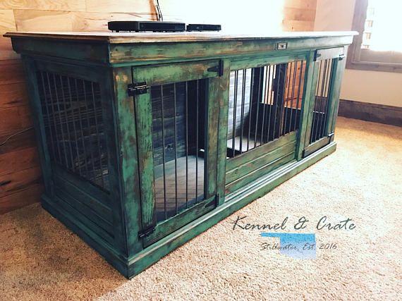 Farmhouse style indoor dog kennel dog crate furniture for Design indoor dog crate