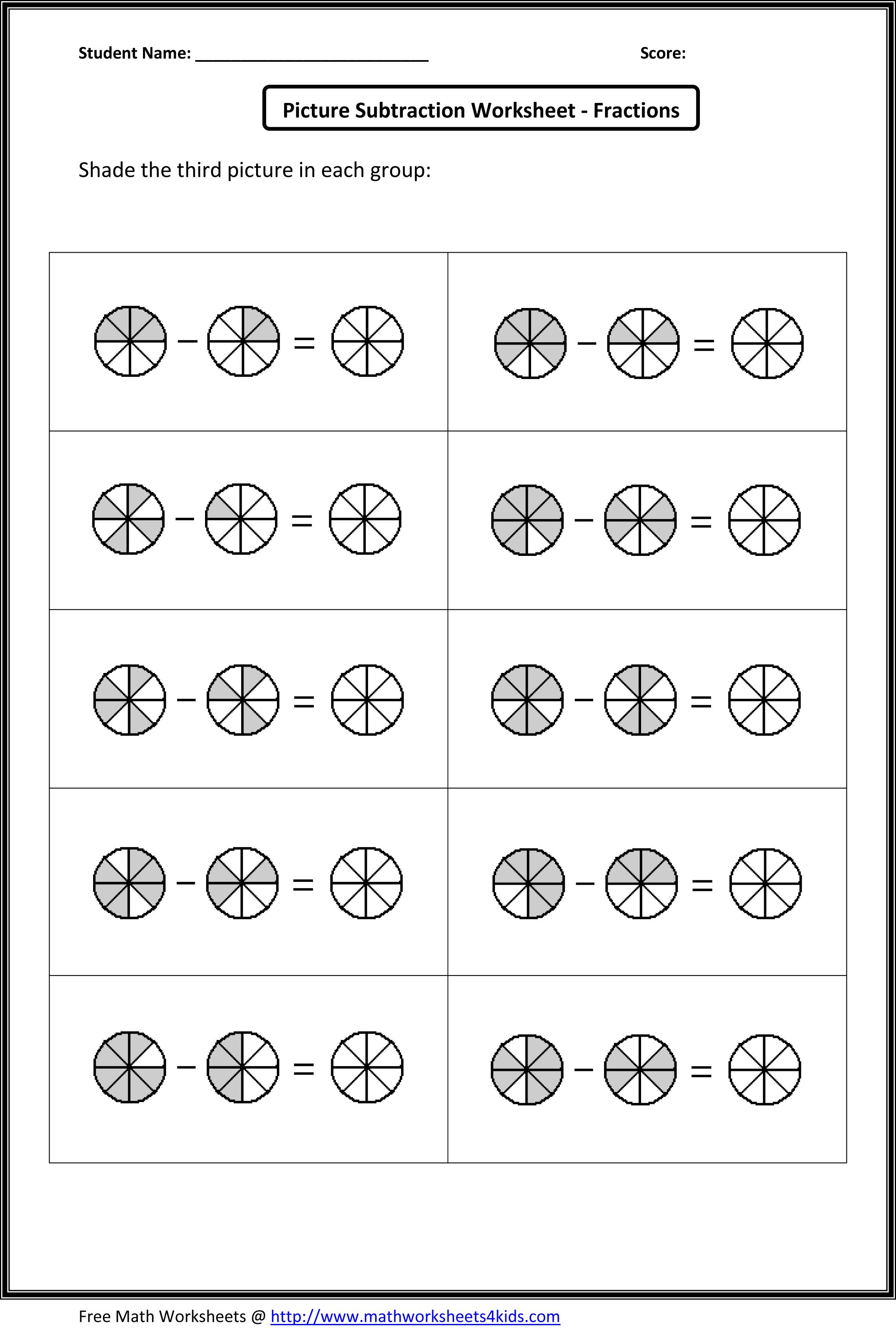 Subtracting Fractions Worksheets Con Imagenes