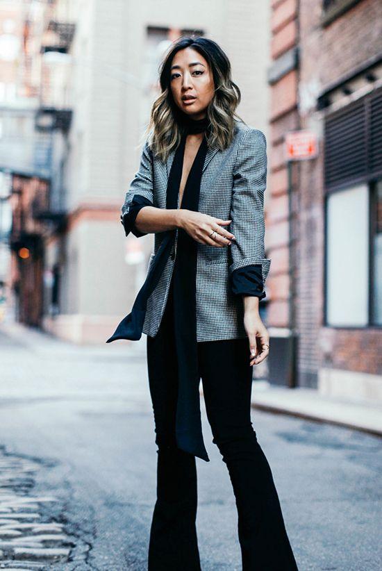 8eba5899b85 fall   winter - fall outfits - street style - street chic style - casual  outfits - party outfits - grey blazer + black skinny scarf + lace bralet +  black ...