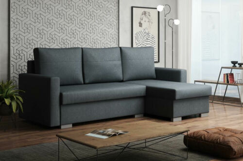 Details about NEW LARGE CORNER SOFA BED PORTO FABRIC STORAGE ...