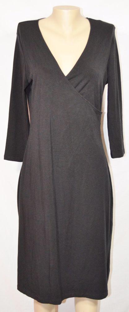 BANDOLINO NEW NWT Black Stretchy Faux Wrap Dress Large 3/4 Sleeves Unlined #Bandolino #FauxWrapDress #WeartoWork