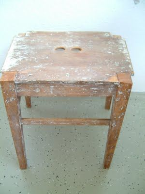 from chair to stool: shorten the legs and cut the back off, drill two holes - tada! - you have a stool!
