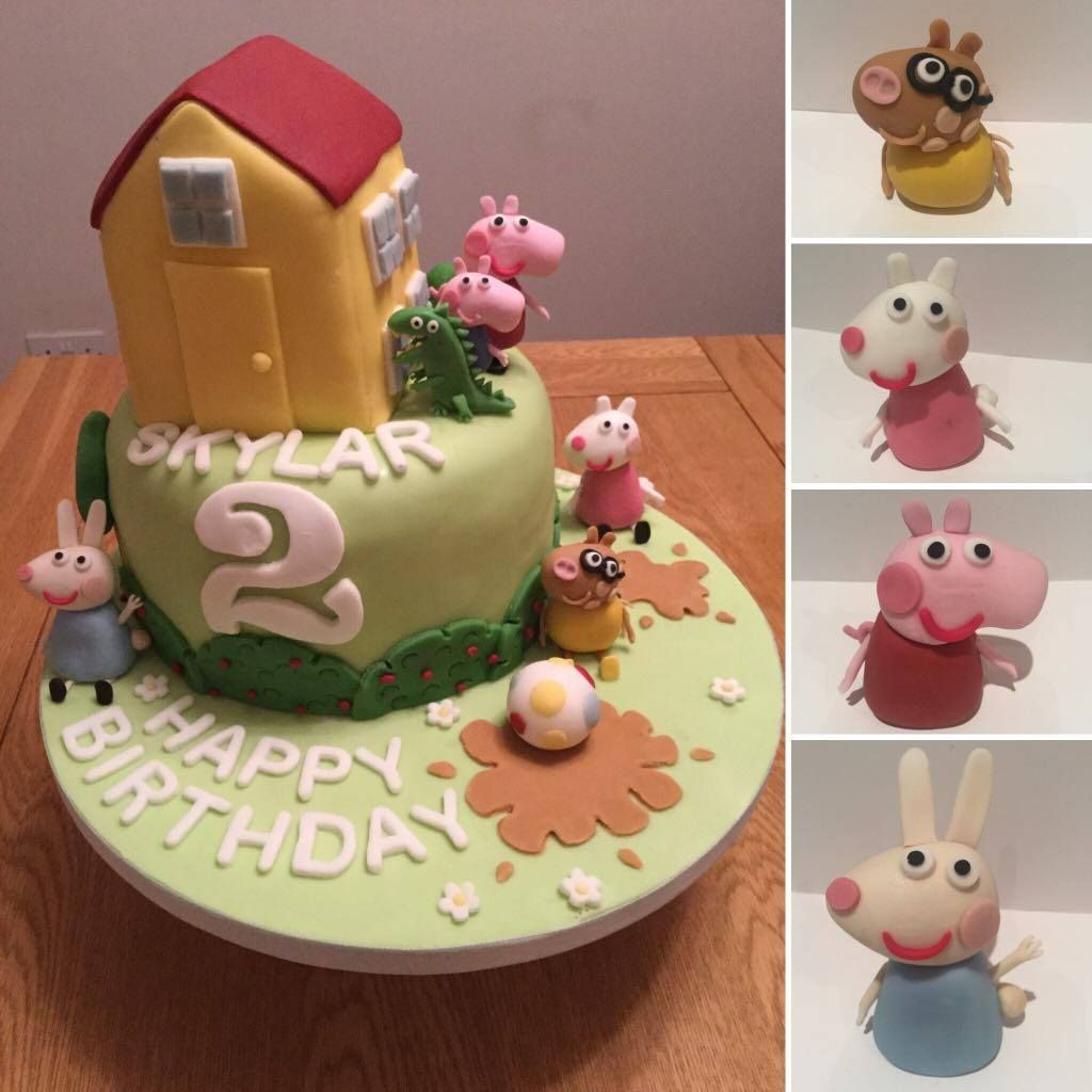 Peppa Pig Cake Two Tiered Cake Top Tier Carved And Shaped Into Peppa