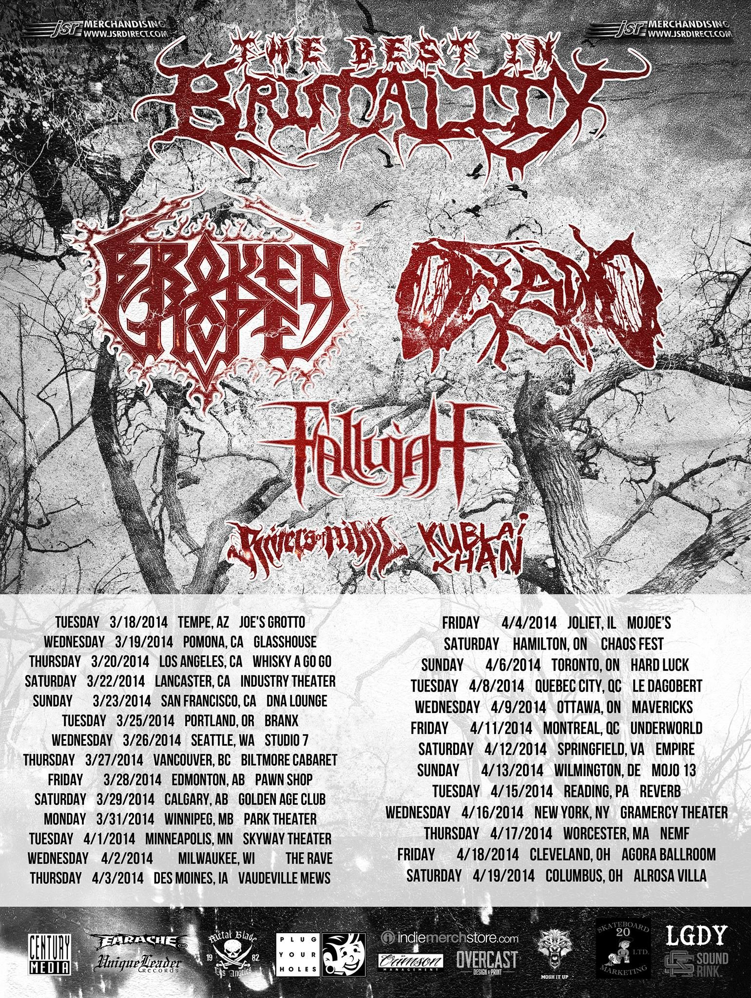 Best In Brutality Tour Featuring Brokenhope Oceano Fallujah Riversofnihil And Kublai Soundrink Tours Kublai Khan Upcoming Concerts