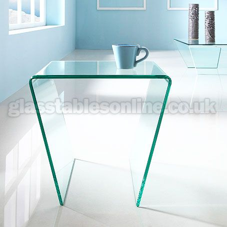 Buy angled glass side table from - Glass side tables for living room uk ...