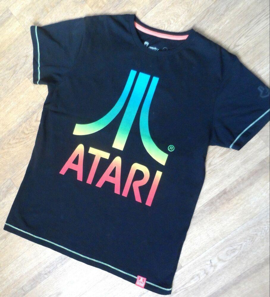 JOYSTICK JUNKIES Atari Vintage Rainbow Logo Gaming Mens T