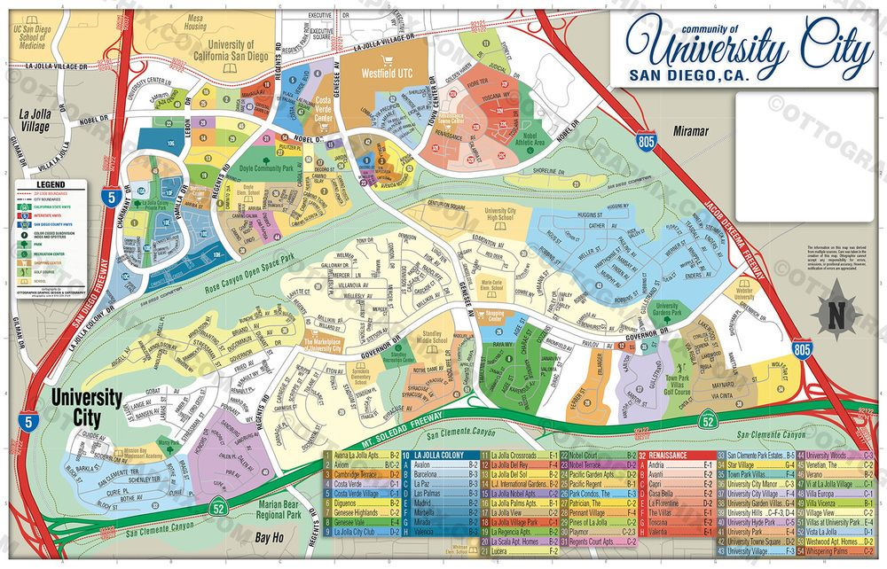 University City Map With Subdivisions San Diego California