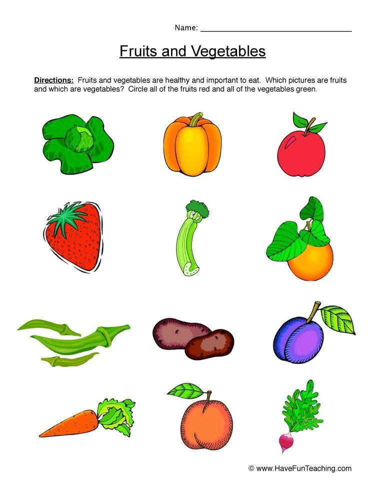 Fruits And Vegetables Worksheet Different Fruits And Vegetables Fruits And Vegetables Vegetables Preschool fruits and vegetables worksheets