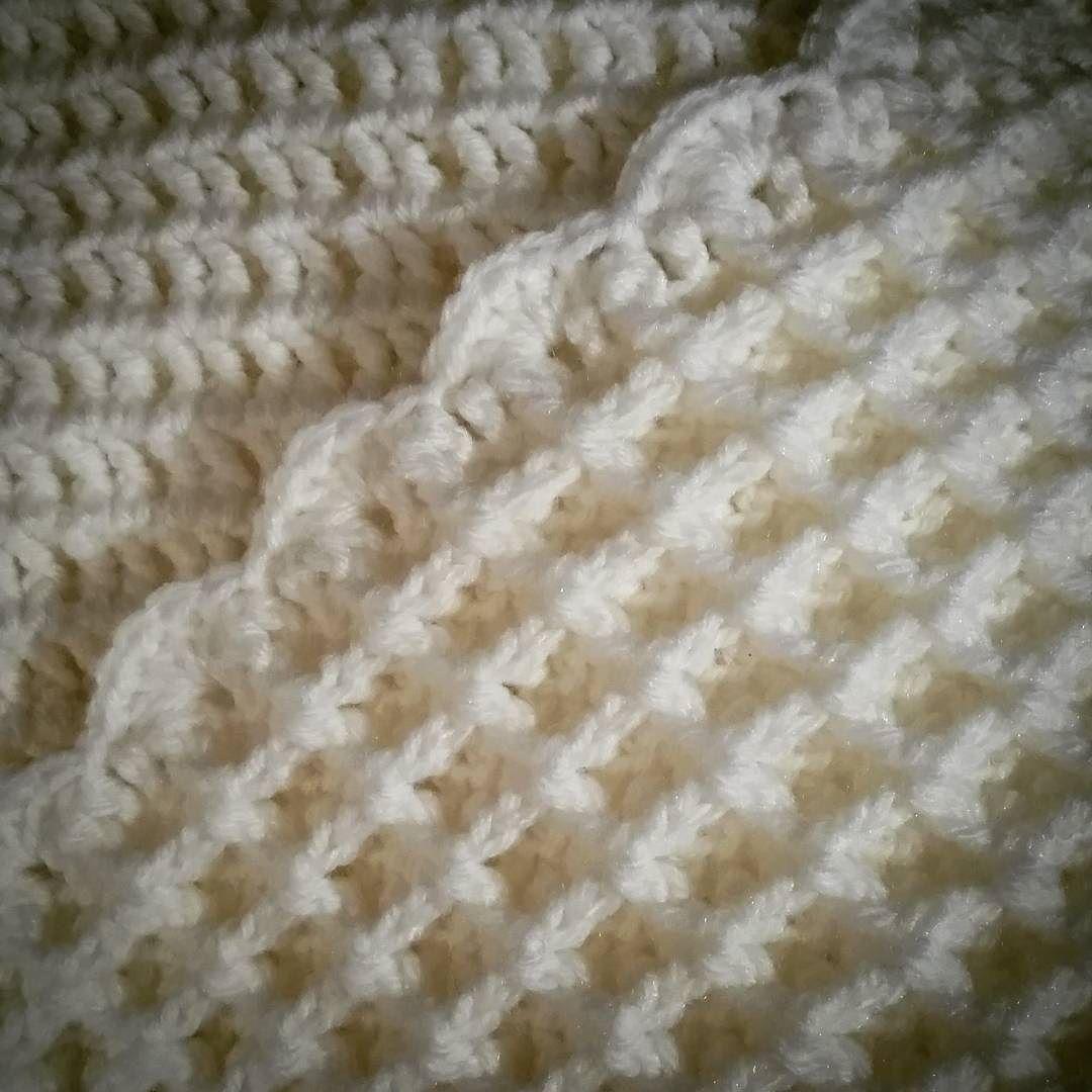 Just finished edging my waffle stitch blanket #wafflestitch #blanket ...