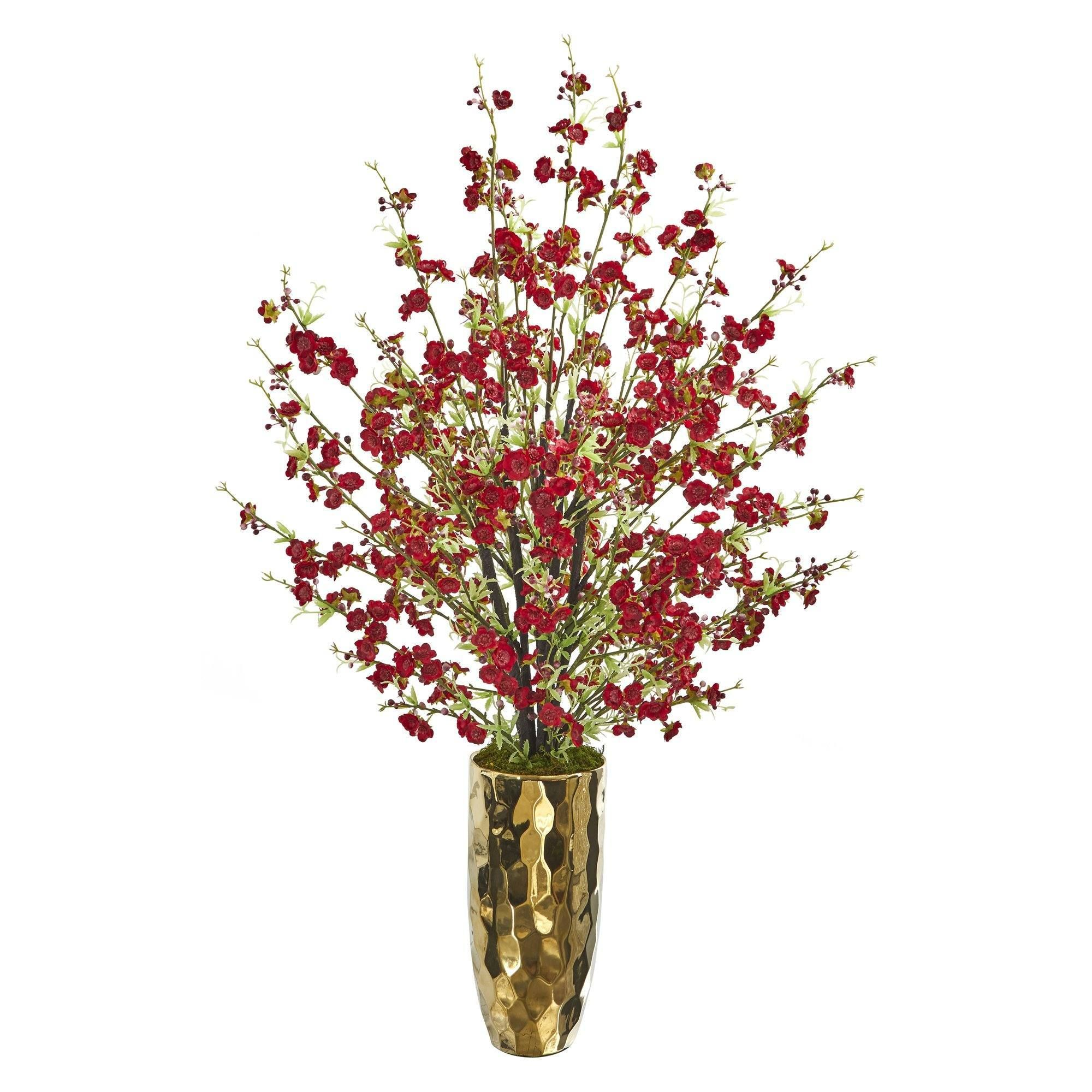 33 Cherry Blossom Artificial Arrangement In Gold Vase In 2020 Silk Flower Arrangements Flower Arrangements Gold Vases