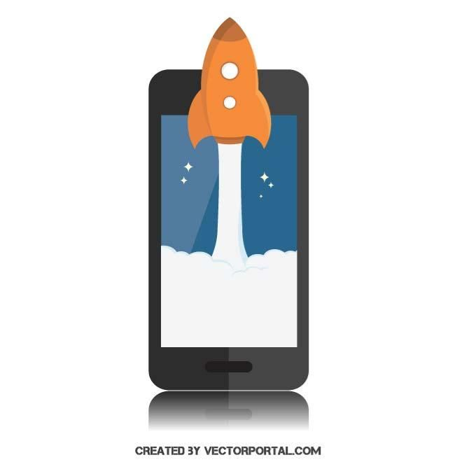 Rocket launching on smartphone screen.