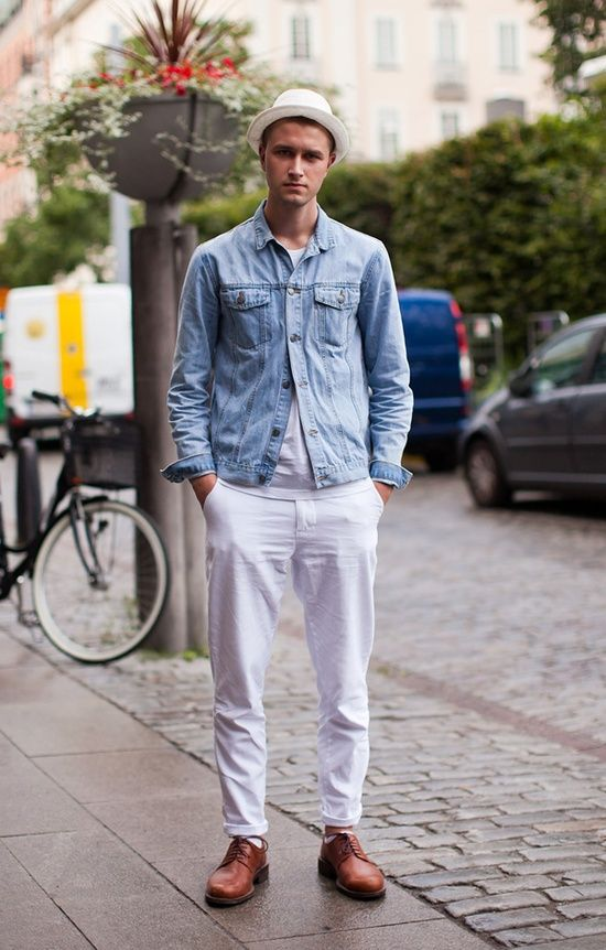 Denim Jacket   White Pants | For Him! ❤ | Pinterest | Jackets ...
