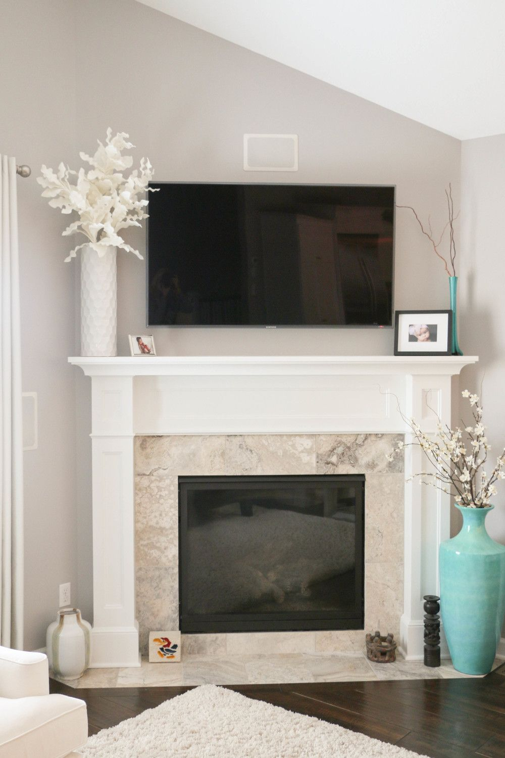 Fireplace With Light Travertine Tile White Paint Living Room Hearth All Revere Pewter