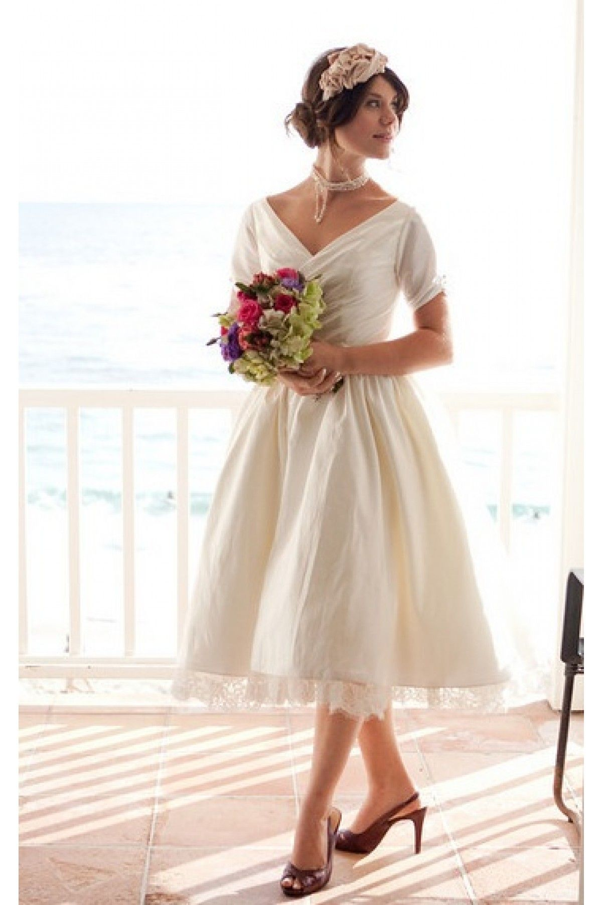 Short Tea Length Vintage Wedding Dress