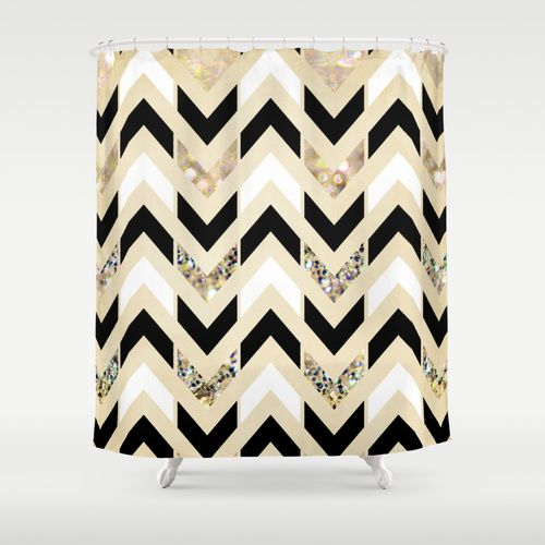 Black White Gold Glitter Herringbone Chevron On Nude Cream Shower Curtain