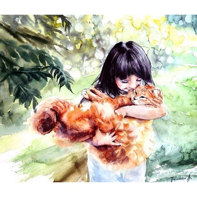#mulpix Um  #abraço no  #gato na  #aquarela de @parshicova_anastasia  A  #hug in her  #cat at  #Parshicova 's  #watercolor   #amor  #gatinho  #fofo  #love  #kittycat  #cute  #pintura  #desenho  #painting  #drawing #tumblr  #tumblrbrasil  #blog  #julianapsicologa  #arte  #art  #personalidarte  #fotografia