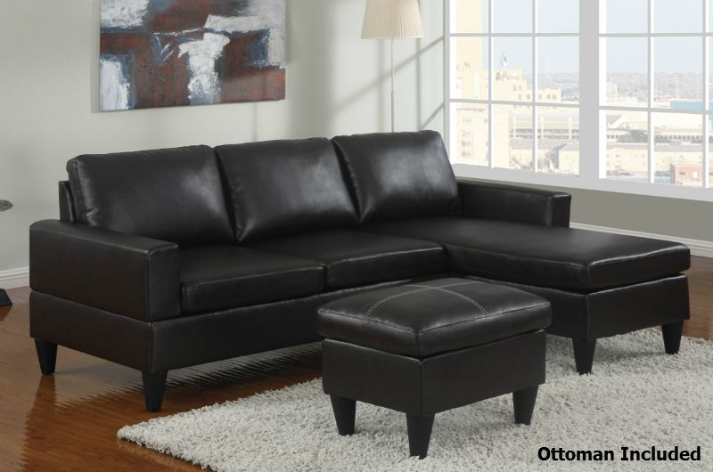 Piccio Black Leather Sectional Sofa And Ottoman Small Sectional