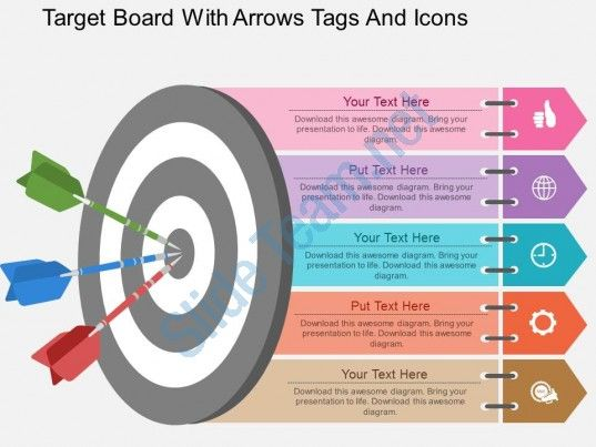 ew target board with arrows tags and icons flat powerpoint design