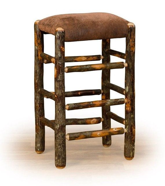 Rustic Hickory On Hickory Square Bar Stool 24 Inch Or 30 Inch No Back No Arms Upholstered Padded Seat Custom Am Hickory Bar Stools Stool Leather Seat