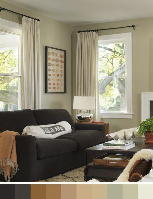Sofa chocolate y paleta de colores que evoca la naturaleza - Sofas marrones decoracion ...