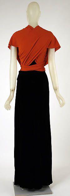 Evening dress Designer: Madeleine Vionnet (French, Chilleurs-aux-Bois 1876–1975 Paris) Date: 1933–37 Culture: French Medium: silk