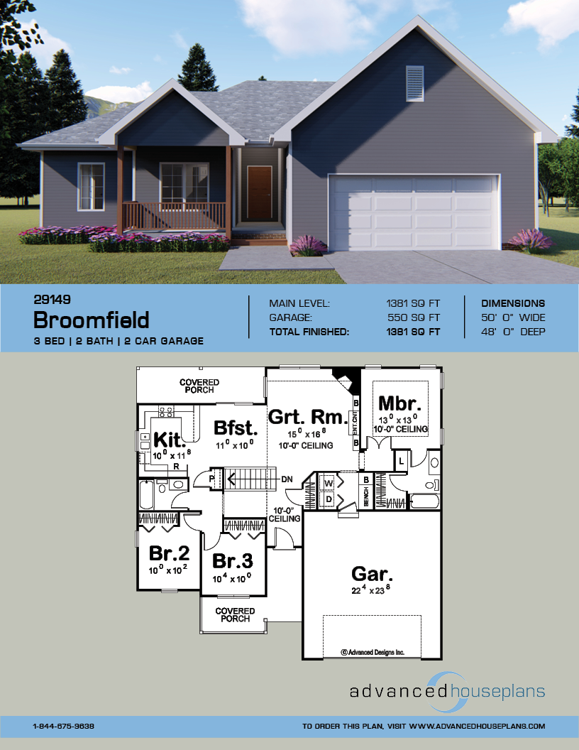 1 Story Traditional House Plan Broomfield House Plans House Plans Farmhouse Ranch House Plans