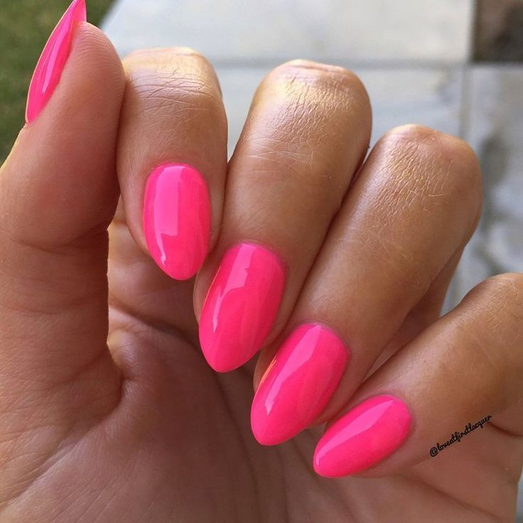 Bright Neon Pink Almond Nails Perfect Summer Or Vacation Nails