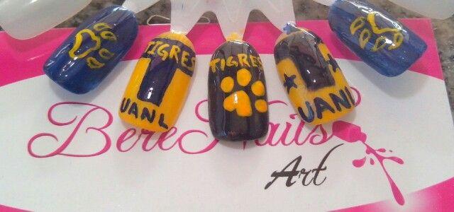 Uñas Con Diseño Del Equipo De Tigres Nail Art Berenailart Pinterest