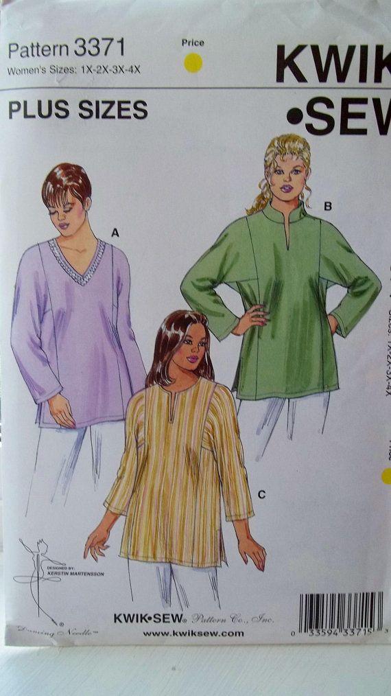 Plus Size Tops and Tunics, Kwik Sew 3371 Sewing Pattern, Full Figure ...