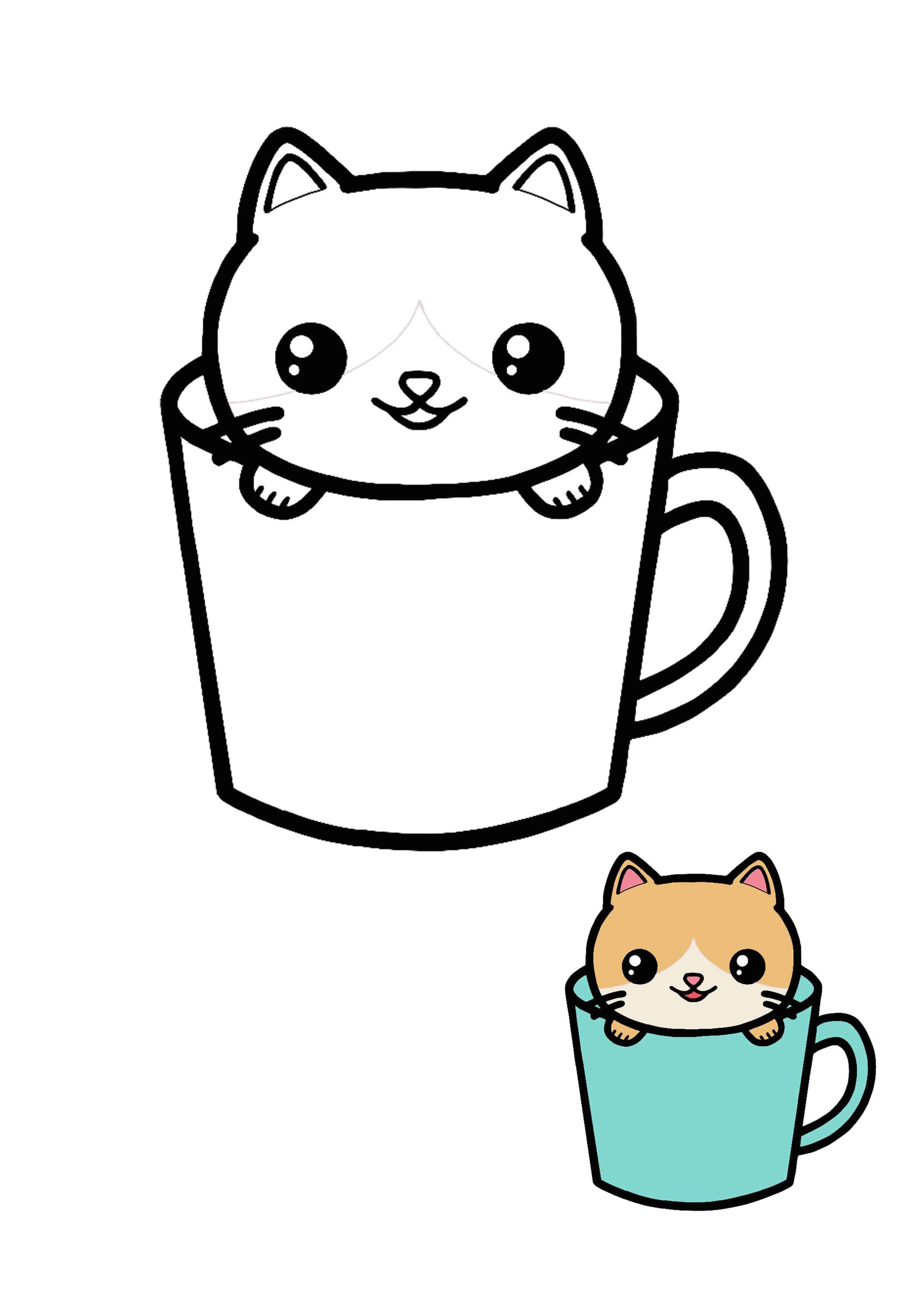 Kawaii Cat Teacup Coloring Page For Kids Manga Coloring Book Cat Coloring Page Kawaii Cat