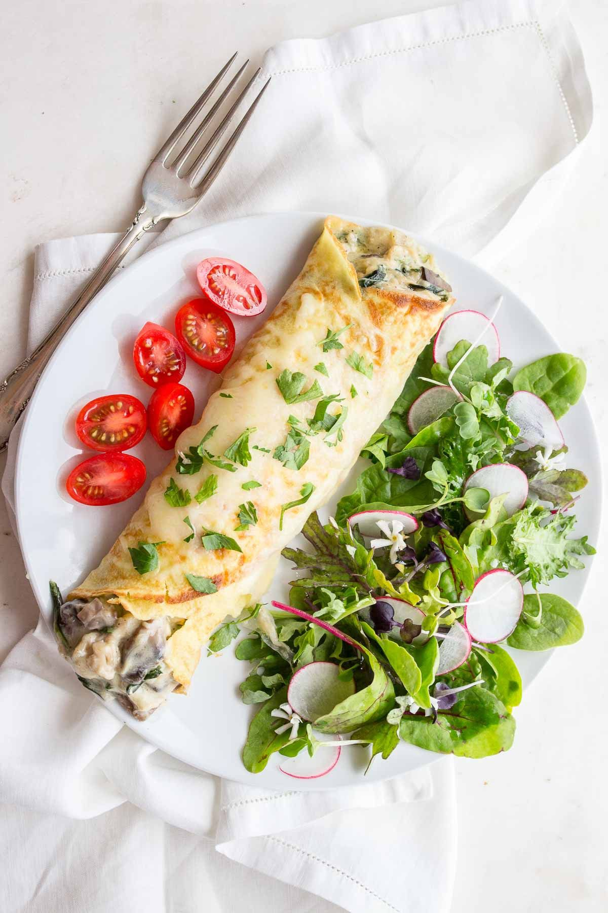 Low Carb Chicken Florentine Crepes Are A Great Savory Crepe Made With Rotisserie Chicken Mush