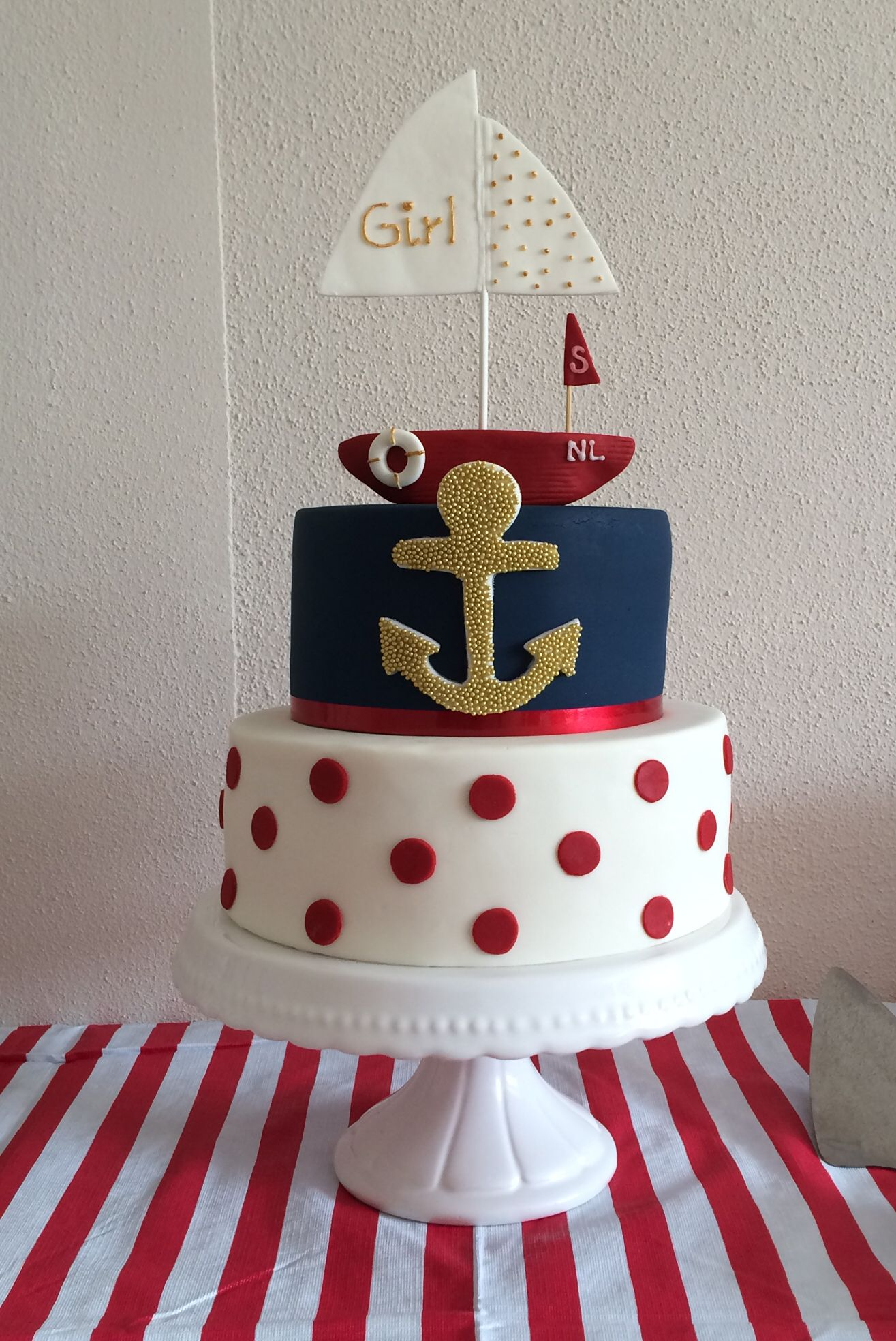 Nautical Girl Baby Shower Cake Blue Red White With A