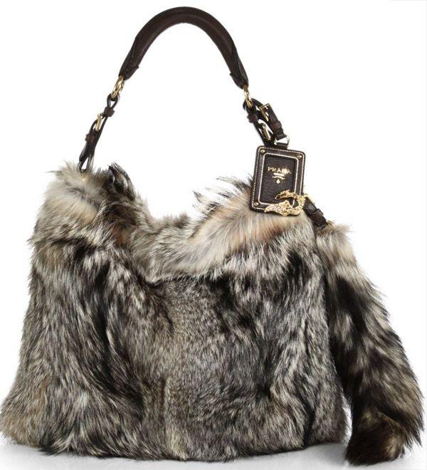 Prada Fox Fur Hobo Bag
