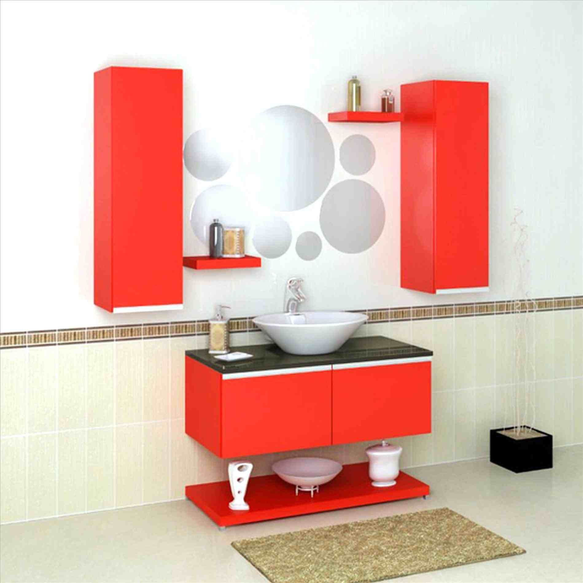 New Post red and white bathroom accessories visit