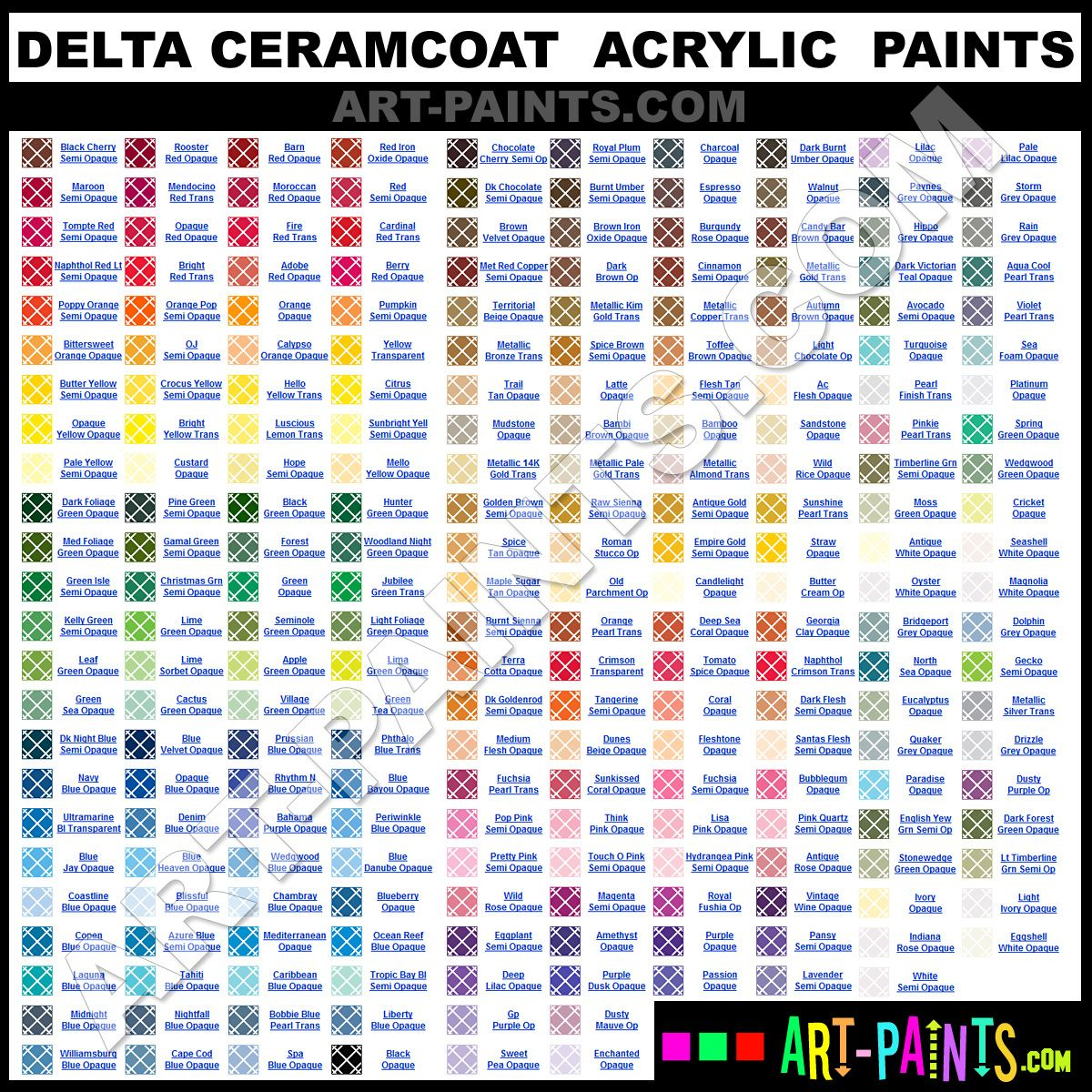 Folk art acrylic paint color chart - Delta Ceramcoat Acrylic Paints Paint Color Chartcolor