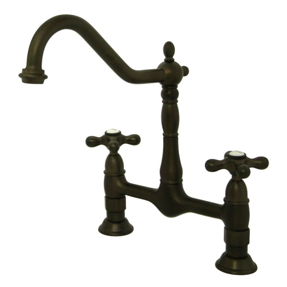 Kingston Brass Heritage 2 Handle Bridge Kitchen Faucet With Cross