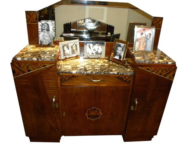 Art Deco Buffet With Geometric Marquetry And Marble