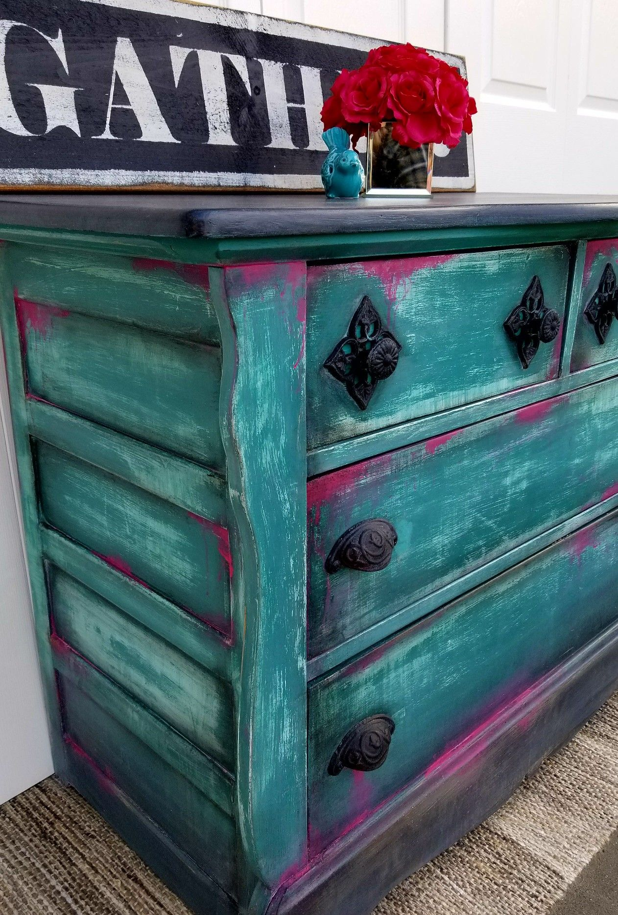 Vintage Chest Painted With Dixie Belle Paint In Mermaid