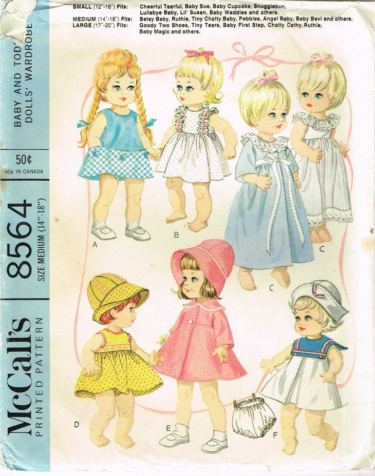 "Vintage McCall Doll Clothes Fits Mary Hoyer Doll Sz 14/""Fabric Sew Pattern # 1564"
