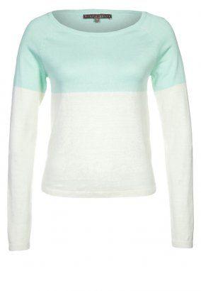 Strickpullover - mint/weiß