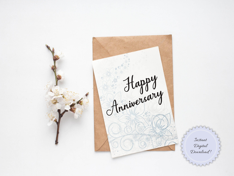 Printable Happy Anniversary Card Design Diy Anniversary Card Etsy In 2021 Happy Anniversary Cards Diy Anniversary Cards Anniversary Greeting Cards