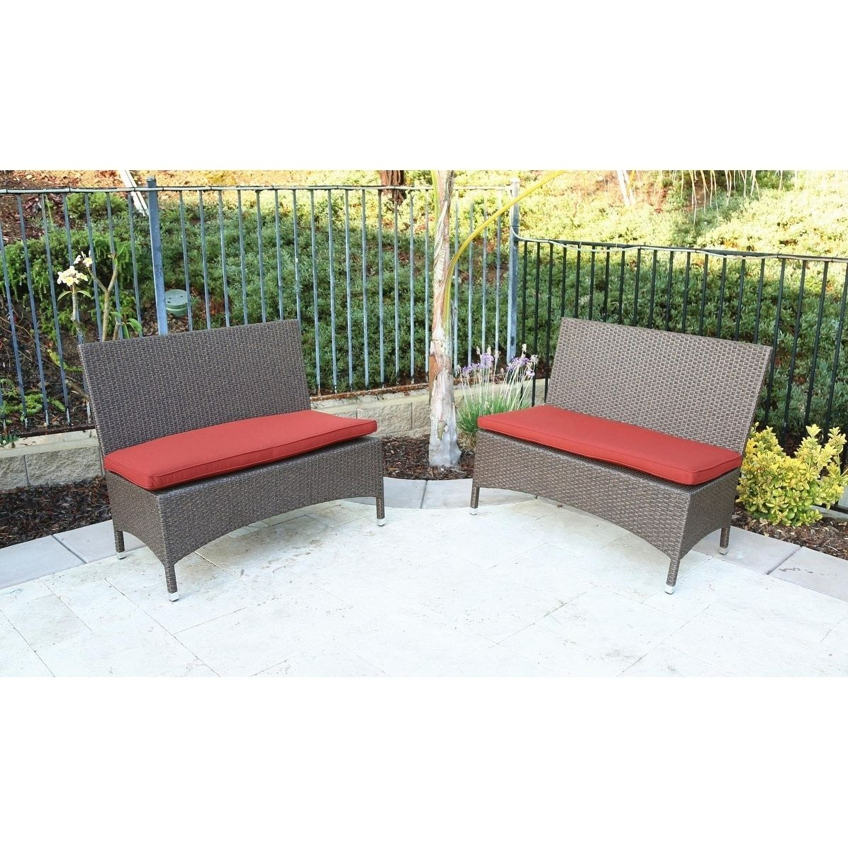 Catalina 2 Piece Bench With Cushion Brown Patio Furniture  # Muebles Johnson Rosario