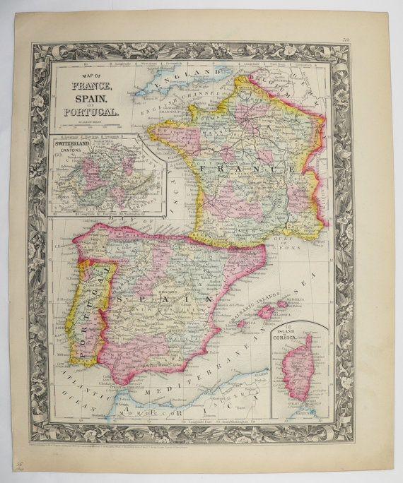 Original antique map spain france map portugal 1860 mitchell map antique map spain vintage map of france portugal map old 1860 original mitchell unique gift under gumiabroncs Gallery