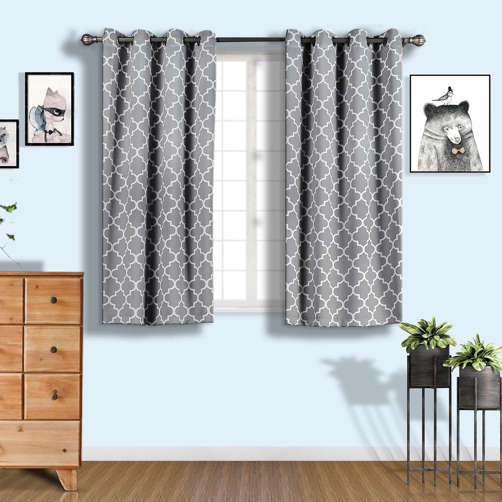 Lattice Pattern Curtains 2 Packs Charcoal Gray White Trellis Curtains 52 X 64 Inch Blackout Curtains Thermal Grommet Curtains Insulated Curtains Thermal