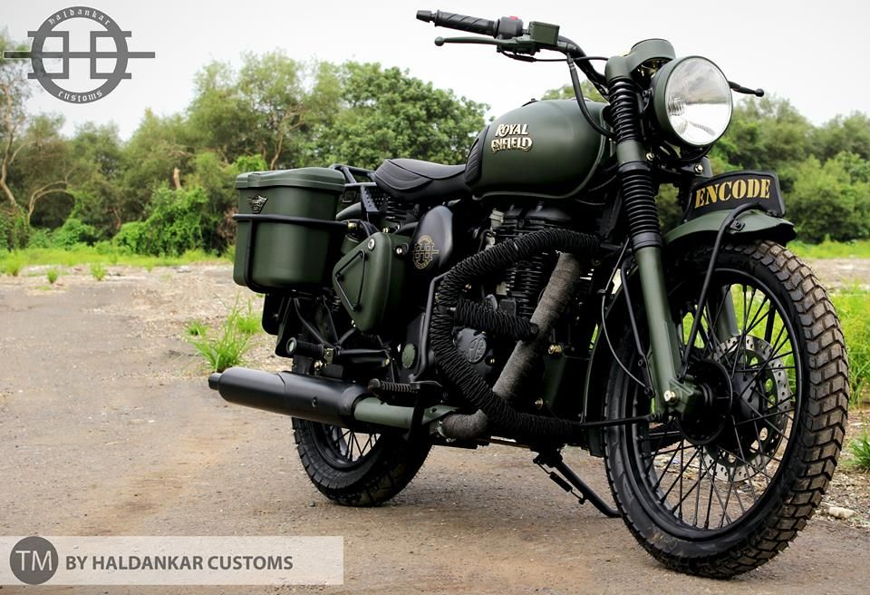 Encode Beautifully Painted Military Green Royal Enfield Clic 350cc