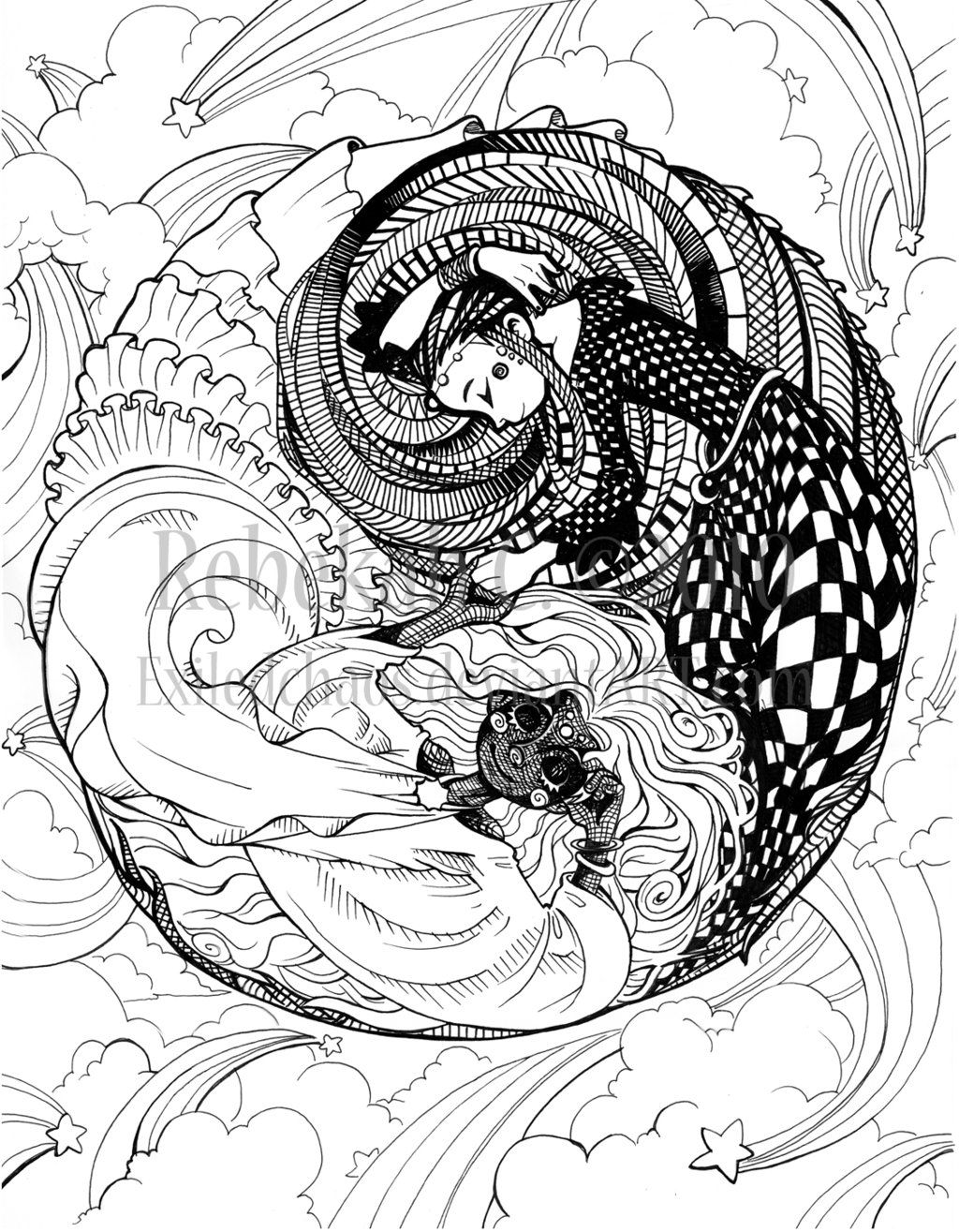 Ying Yang Design Coloring Pages
