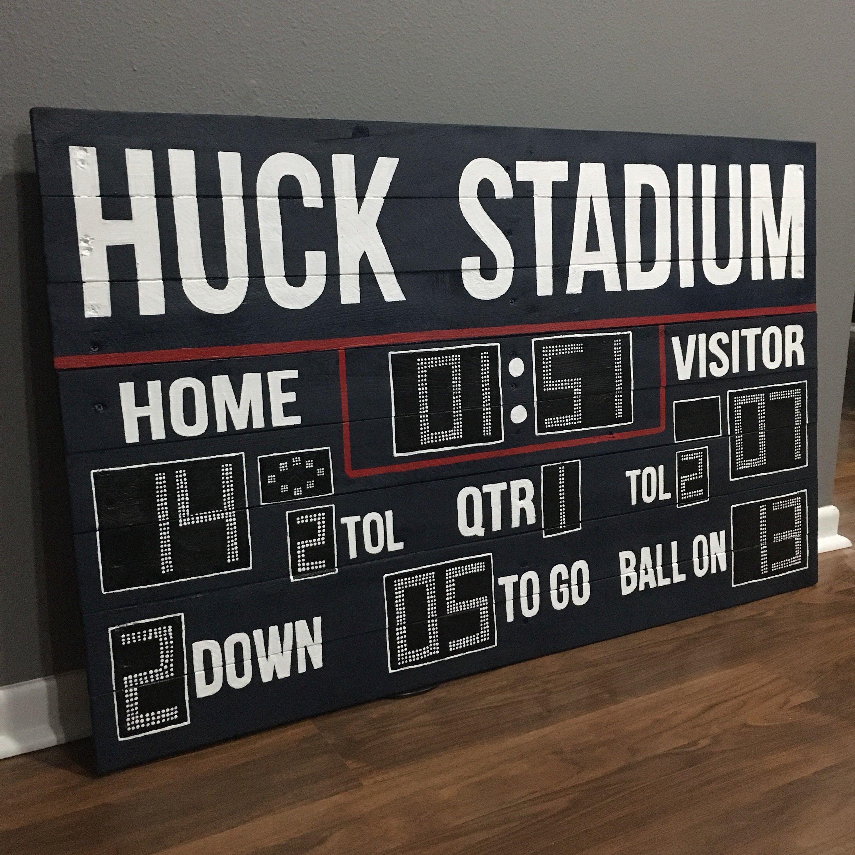 Custom Football Scoreboard Reclaimed Wood Artwork Football Scoreboard Scoreboard Reclaimed Wood Artwork