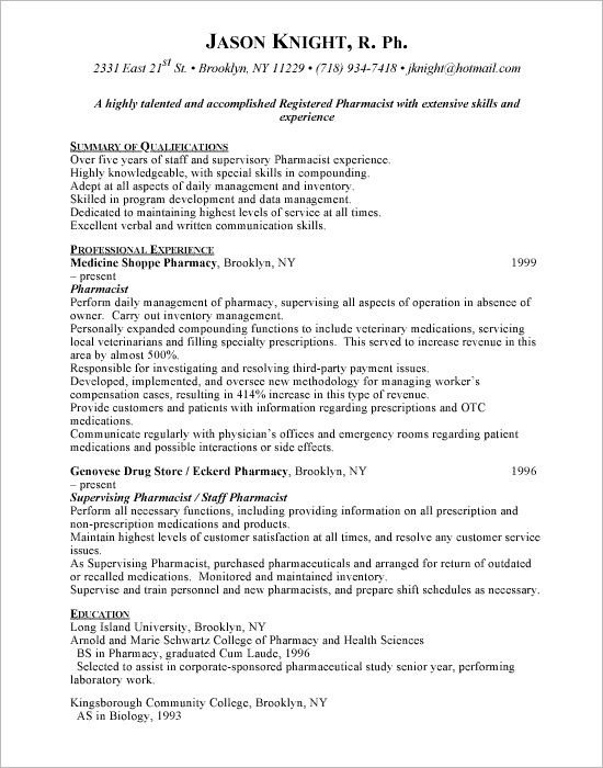 Retail Pharmacist Resume Sample