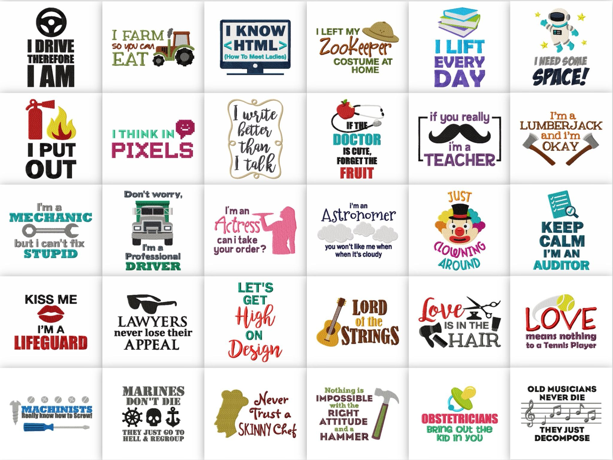 100 Professions Pack Saying And Quotes Embroidery Designs