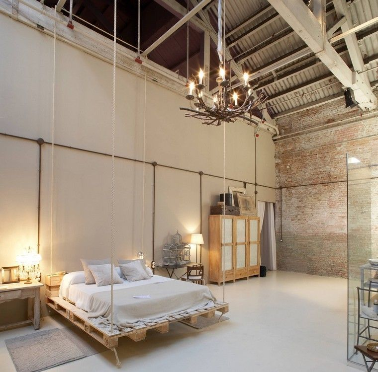 Lit palette briques mur chambre style industriel idée luminaire suspension